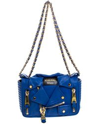 Moschino Blue Leather Capsule Biker Jacket Shoulder Bag