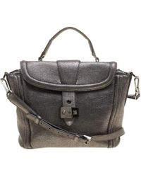 Lancel Metallic Gray Leather Satchel