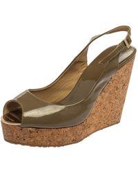 Jimmy Choo Olive Green Patent Leather Prova Slingback Platform Sandals