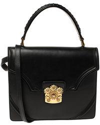 Alexander McQueen Black Leather Crystal Flower Clasp Top Handle Bag