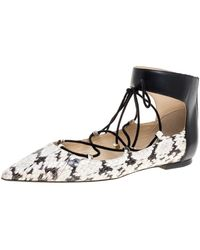 Jimmy Choo - Beige/black Python And Leather Ankle Cuff Ballet Flats - Lyst