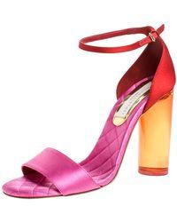Stella McCartney Red/pink Satin Lucite Block Heel Ankle Strap Sandals