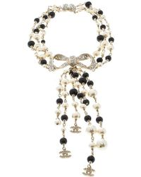 Chanel - Faux Pearl Bead & Crystal Tone Bow Multi Strand Tassel Necklace - Lyst