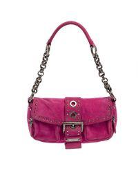 Fendi Fuchsia Suede Buckle Flap Baguette Shoulder Bag - Pink