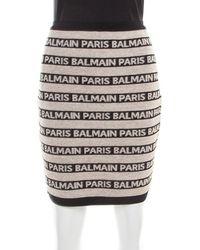 Balmain Beige And Black Jacquard Logo Knit Striped Bodycon Skirt M - Natural