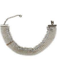 Chanel - Silver Metal Beaded Metallic Bracelet - Lyst