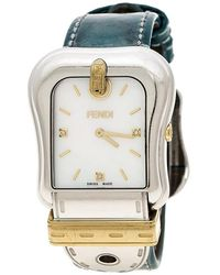 Fendi White Mother Of Pearl Gold Plated Stainless Steel 3800g Women's Wristwatch 33 Mm - Blue