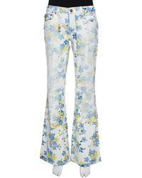 Roberto Cavalli White Floral Printed Denim Flared Jeans