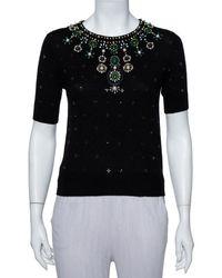 Alice + Olivia Black Wool Embellished Detail Rosi Top