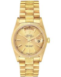 Rolex Champagne 18k Yellow Gold Day-date President 18248 Men's Wristwatch 36 Mm - Metallic