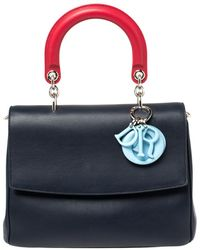 Dior Navy Blue Leather Small Be Flap Top Handle Bag