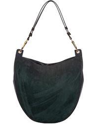 Céline Green Nubuck Leather Hobo - Black