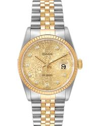 Rolex Diamonds 18k Yellow Gold And Stainless Steel Datejust 16233 Wristwatch 36 Mm - Metallic