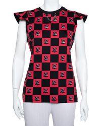 Louis Vuitton Black & Pink Logo Chequered Knit Sleeveless Top
