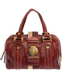 Gucci Red Leather Medium Aviatrix Duffel Bag
