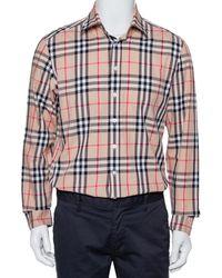 Burberry Brit Beige Nova Checkered Cotton Button Front Shirt - Natural