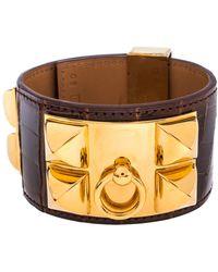 Hermès Hermès Brown Alligator Leather Collier De Chien Cuff Bracelet