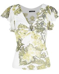 Roberto Cavalli White Floral Printed Ruffle Sleeve Detail Top