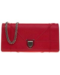Dior Red Cannage Leather Ama Wallet On Chain