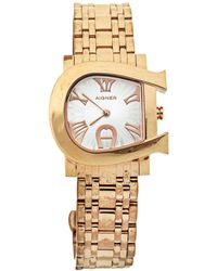 Aigner Silver Yellow Gold Plated Stainless Steel Genua Due A31600 Wristwatch - Metallic