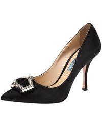 Prada - Black Satin Crystal Embellished Pointed Toe Pumps - Lyst