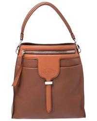 Tod's Brown Leather Small Thea Bucket Shoulder Bag