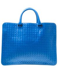 Bottega Veneta - Blue Intrecciato Leather Flat Briefcase - Lyst