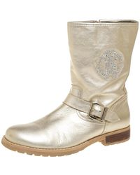 Roberto Cavalli Gold Leather Logo Embellished Buckle Detail Ankle Length Boots - Metallic