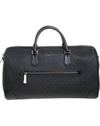 Michael Kors Black Signature Coated Canvas Xl Travel Duffle Bag