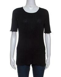 Louis Vuitton Black Cotton Rib Knit T-shirt