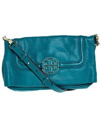 Tory Burch Teal Leather Amanda Foldover Crossbody Bag - Green