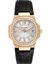 Patek Philippe Silver Diamond 18k Rose Gold Nautilus 7010 Wristwatch 32 Mm - Metallic