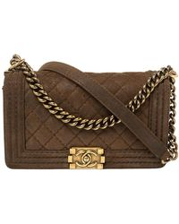Chanel Brown Quilted Nubuck Leather Medium Boy Shoulder Bag
