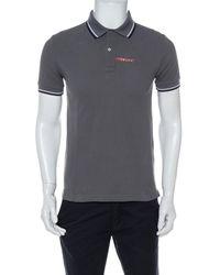 Prada Grey Cotton Pique Stripe Detail Polo T-shirt