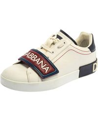 Dolce & Gabbana White/brown Leather Logo Velcro Strap Sneakers