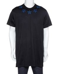 Givenchy Black & Blue Cotton Star Embroidered Crew Neck T Shirt