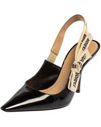Dior Black Patent Leather J'a Slingback Sandals