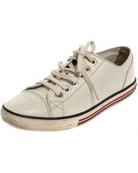 Chanel White Leather Cap Toe Lace Up Sneaker