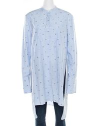 Céline Blue And White Striped Embroidered Cotton High Low Tunic M
