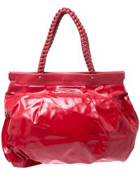 Ferragamo Red Patent Leather Braided Handle Hobo