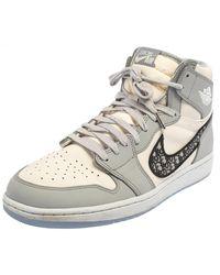 Dior Jordan X Grey/white Leather Air Jordan 1 Retro High Top Trainers