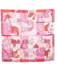 Hermès Pink Della Cavalleria Favolosa Silk Scarf