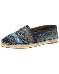 Dolce & Gabbana Multicolor Woven Leather Espadrilles - Blue