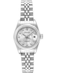 Rolex Silver 18k White Gold And Stainless Steel Diamond Datejust 79174 Women's Wristwatch 26mm - Metallic