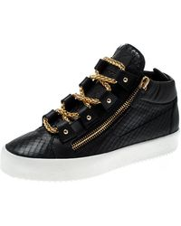 a7e3b07b7ff Black Leather London Birel Chain Embellished High Top Trainers Size 43.5