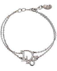 Dior Silver Tone Oblique Crystal Bracelet - Metallic