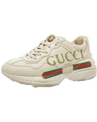 Gucci Cream Leather Trainer Trainers - Natural