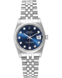 Rolex Blue Diamonds 18k White Gold And Stainless Steel Datejust 68274 Women's Wristwatch 31 Mm