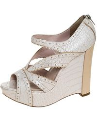 Dior Beige Croc Embossed Brogue Leather Wedge Platform Strappy Sandals Size 38 - Natural