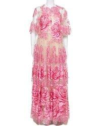 Dolce & Gabbana Beige & Pink Tulle Floral Applique Detail Gown